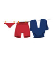 clothes hanging in the laundry vector image vector image