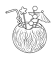 Coconut cocktail icon in outline style isolated on vector image vector image