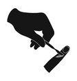 cut the finger with a surgical scalpel surgery vector image vector image
