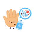 cute happy smiling hand disinfect antiseptic