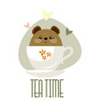cute little bear sitting in a cup vector image