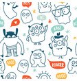 cute monsters doodles seamless pattern vector image vector image