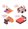 Daily life couple isometric concept