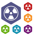 danger nuclear icons set vector image