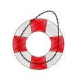 drawing life buoy safety travel vector image