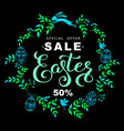 easter sale banner with wreath blue leaves and vector image vector image