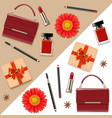 female accessories double set 5 vector image vector image