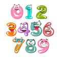 funny cartoon numbers vector image vector image