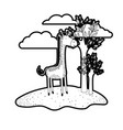 giraffe cartoon in outdoor scene with trees and vector image vector image