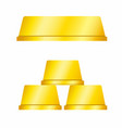 gold bar from side view single and tree stack vector image vector image