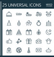 holiday icons set collection of flan sleigh vector image vector image
