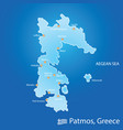 island of patmos in greece map in colorful vector image vector image