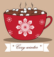 Lovely winter card with cocoa and marshmallows
