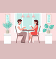 lovers woman and a man at a table in a cafe vector image