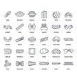 macaroni pasta spaghetti icons set outline style vector image vector image