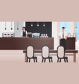 male waiter with female barista working together vector image