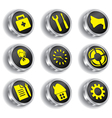 metal web icon set vector image vector image