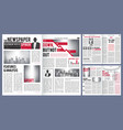 newspaper template print design layout of vector image vector image