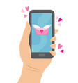 phone to which came a love message vector image vector image