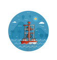 red bell buoy seaside icon in line art vector image