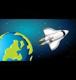 rocket flying past earth vector image vector image