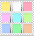 set color paper sticky notes glued to vector image vector image
