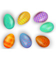set of colorful easter eggs isolated on white vector image