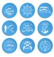 set of vintage fishing labels badges vector image vector image