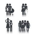 set pictogram family group with son vector image
