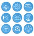 set vintage fishing labels badges vector image