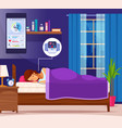 sleeping nice flat composition vector image vector image