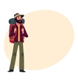 Traveler backpacker hitchhiker geologist or vector image vector image