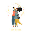 two cute girls are celebrating new year vector image vector image