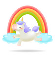 unicorn with rainbow little pony vector image vector image