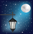 vintage street lamp at night vector image vector image
