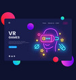 vr games website concept banner design vector image vector image