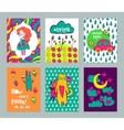 Autumn funny hand drawn cards set vector image