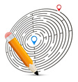 Maze with Labels and Pencil vector image