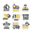 delivery set for label design express delivery vector image