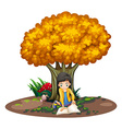 A girl reading under the tree vector image vector image