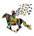 abstract colorful woman rider with birds vector image vector image
