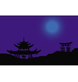 asian night silhouette vector image vector image