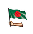 bangladesh flag and hand on white background