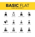 Basic set of flask icons vector image vector image