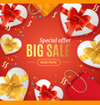 big sale concept banner card with realistic 3d vector image
