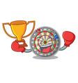 boxing winner cartoon dartcoard next to wooden vector image vector image