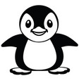 cartoon penguin black and white vector image