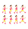 cartoon running girl animation athletic young vector image