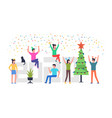 cheerful people celebrating a christmas vector image