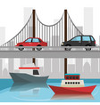 cityscape with bridge scene vector image vector image